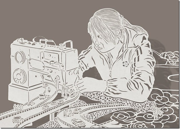 08 Drawing with a knife woman sewing Drawing With A Knife