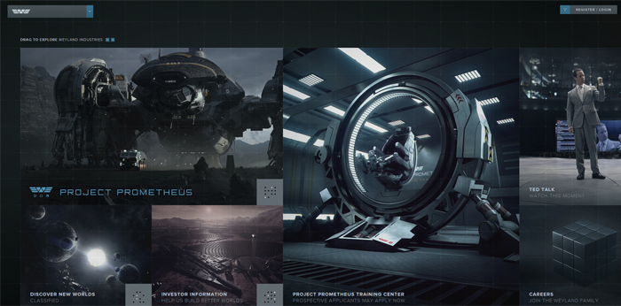 weylandindustries website Prometheus Advertising