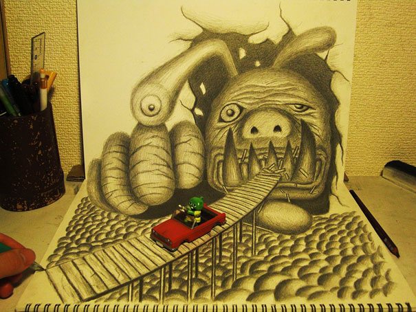 3D drawings nagai hideyuki 12 Incredible 3D Illustrations