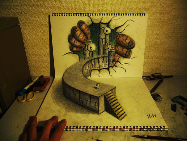 3D drawings nagai hideyuki 13 Incredible 3D Illustrations