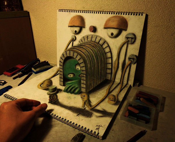 3D drawings nagai hideyuki 6 Incredible 3D Illustrations