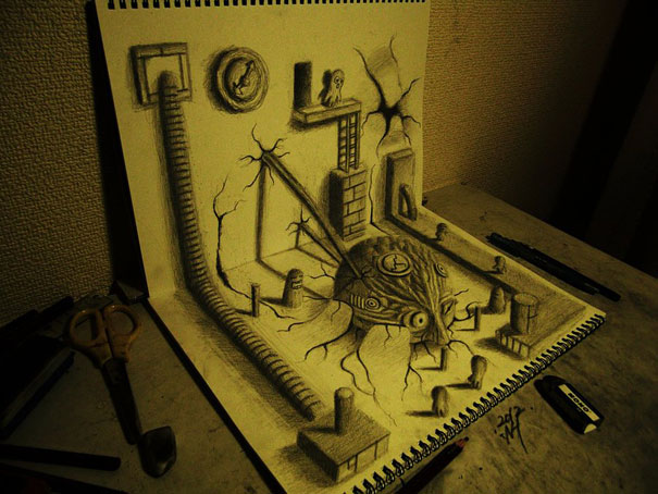 3D drawings nagai hideyuki 8 Incredible 3D Illustrations