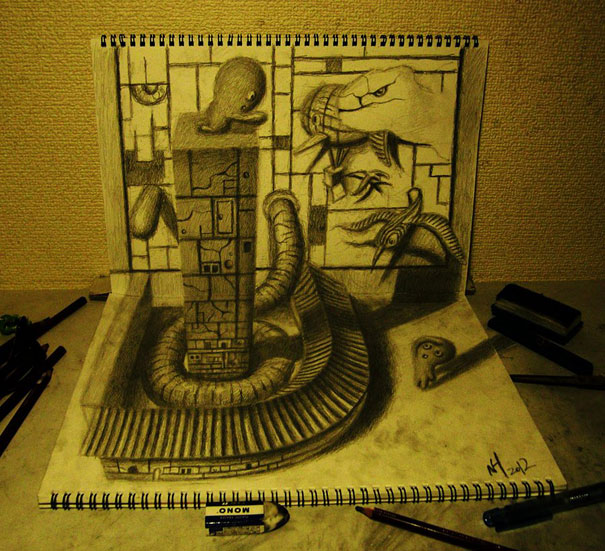 3D drawings nagai hideyuki 9 Incredible 3D Illustrations