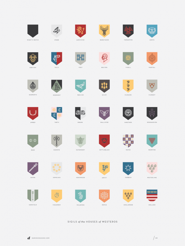 sigils poster final 600x800 Game of Thrones House Shields