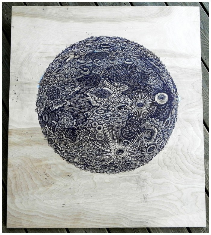 moonwoodcut inprogress 700x780 The Moon | Woodcut Print
