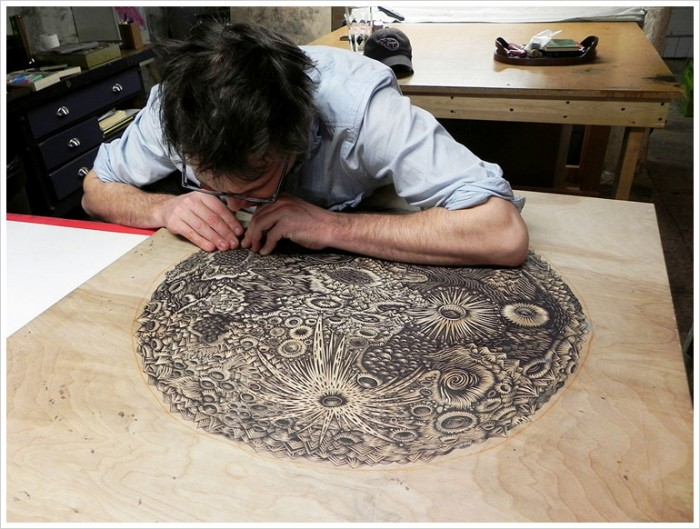themoon woodcut carving04 b 700x529 The Moon | Woodcut Print